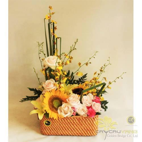 Hoa cắm theo hình chữ L